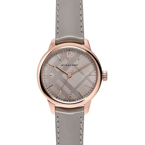 The Classic Round Gray Leather Strap Timepiece BU10119